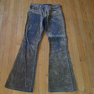 Bongo Distressed Boho Velvet Dip Jeans Size 13
